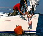 Picking up a mooring buoy